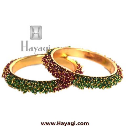 Green Maroon Beads cluster bangle pair - Hayagi - Beeline  - 2