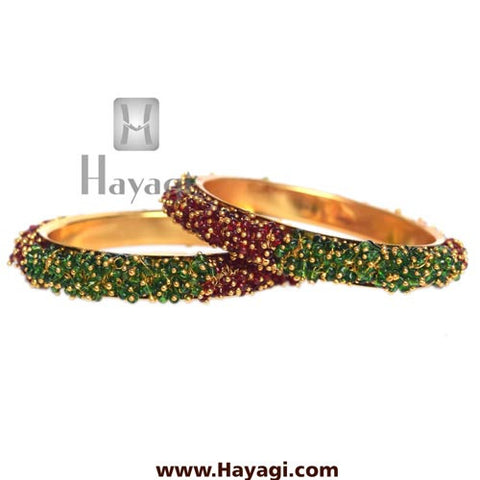 Pearl Bangles, Green Maroon Pearls Bangle pair - Hayagi