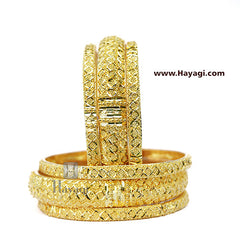 Bangles 1 Gram Set of 6 Gold Finish- Hayagi