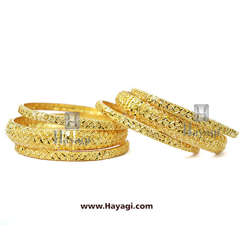 Bangles 1 Gram Set of 6 Gold Finish_Hayagi(Pune)