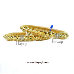 1 Gram Gold Finish Traditional Gahu Tode Bangles Set of 2 Bangles - Hayagi