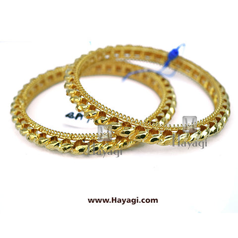 Gold Finish Traditional Gahu Tode Bangles Set of 2 Bangles - Hayagi