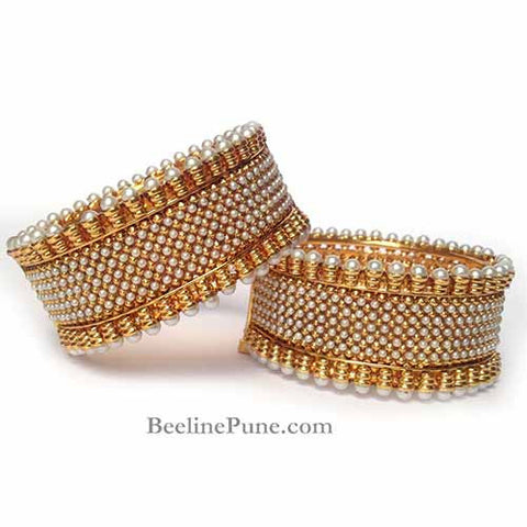 Bangle-White and Golden Artificial Pearl Adjustable Bangle-Hayagi