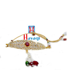 Bajuband With Petal Shape Design Multiple White Stones -Hayagi