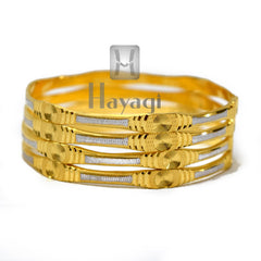 Set of 4 Gold Plated Bangles Ladies Girl Women Rhodium Bangle - Hayagi