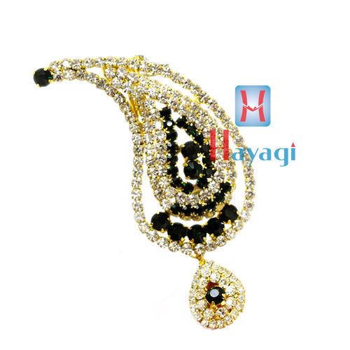 White & Green Colour Stones Brooch Golden Plated
