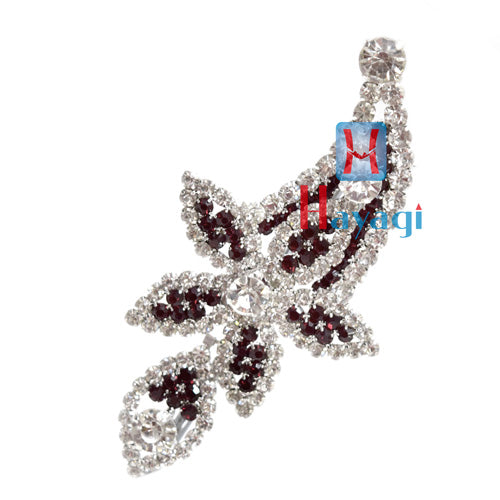 Maroon & White Colour Petal Flower Design Brooch