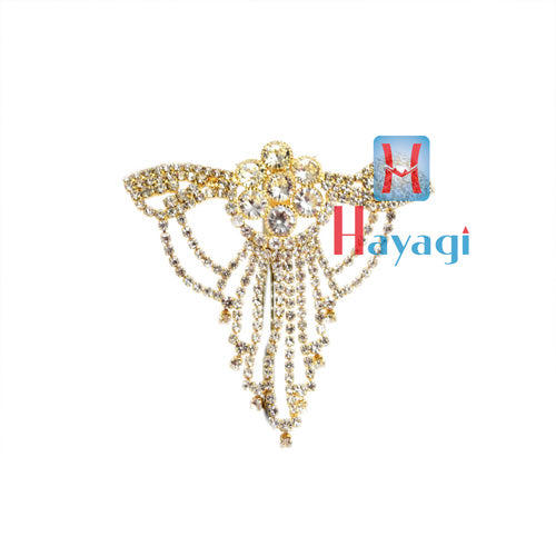 Flower Shape Brooch Pendant With Golden Plated White Stones