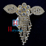 Brooch Pendant With Golden Plated White Stones