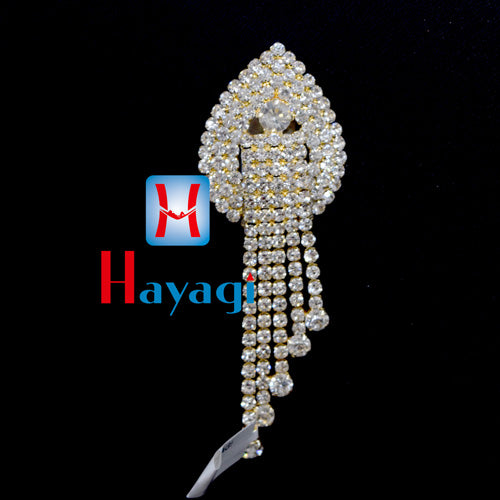 Brooch Pendant With Gold Plated White Stones