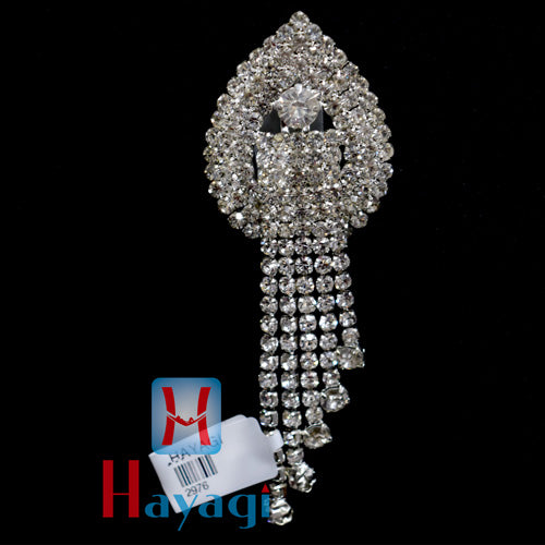 Brooch Pendant With Silver Plated White Stones
