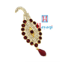 Maroon Colour Brooch Pendant With White Stones
