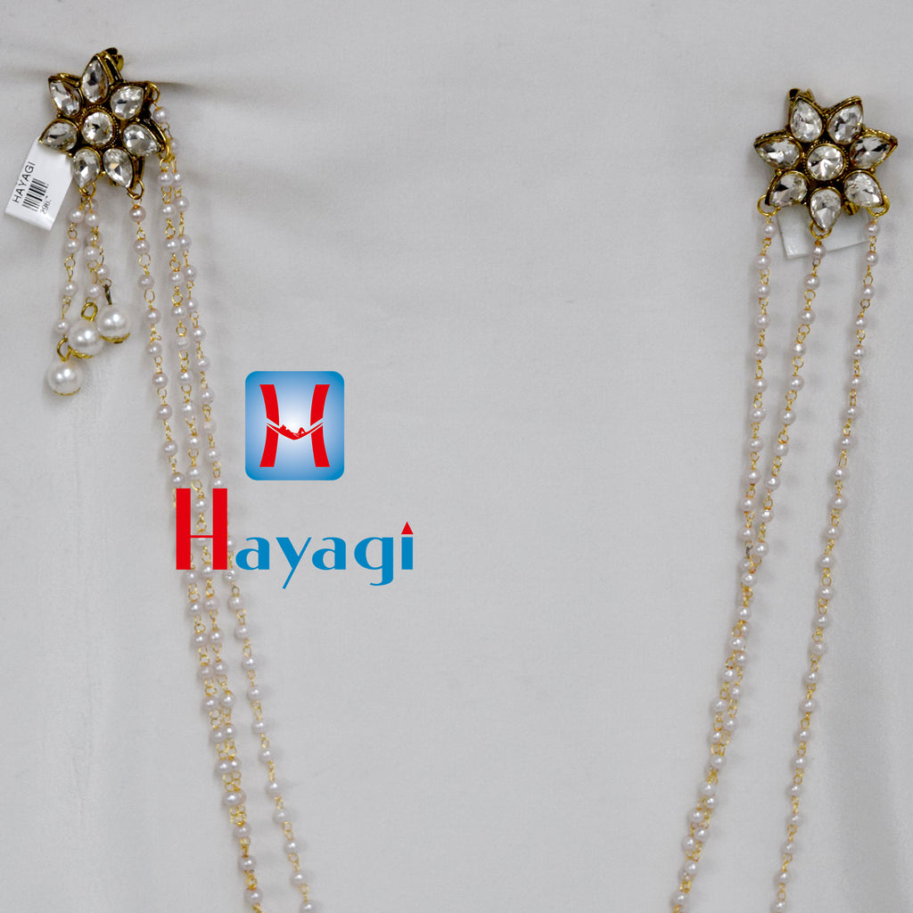 Brooch Moti Mal Flower Design in White Pearl - Hayagi (Pune)