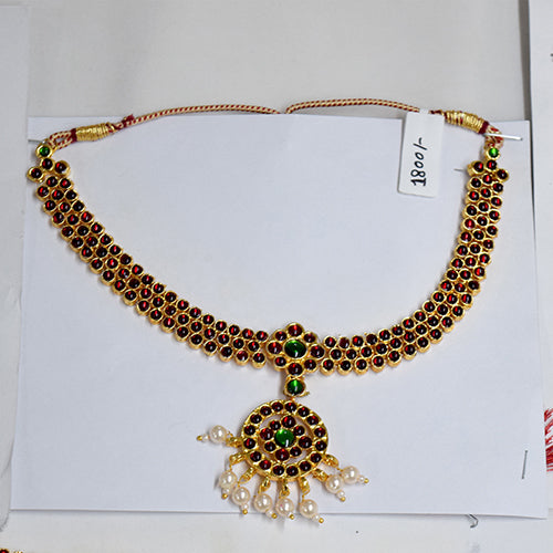 Bharatnatyam Set Flower Design In Gold Finishing Online - Hayagi(Pune)