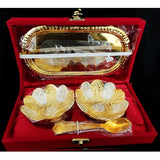 Silver N Golden Brass Ware 2 Bowl Set With Spoon And Tray_Hayagi(Pune)