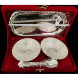 Silver Brass Ware 2 Bowl Set With Spoon And Tray_Hayagi(Pune)