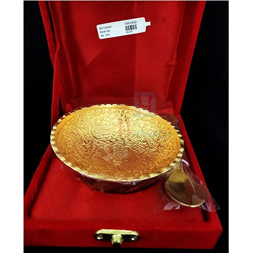 Silver Gold Plated Decorative Spoon and Bowl Set for Diwali Gift_Hayagi(Pune)