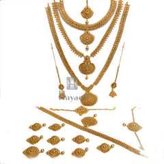 Bridal Necklace Golden Antique Finish Set Buy Online-Hayagi