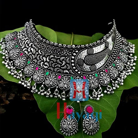 Silver Oxidized Choker Peacock Design Necklace Set-Hayagi(Pune)