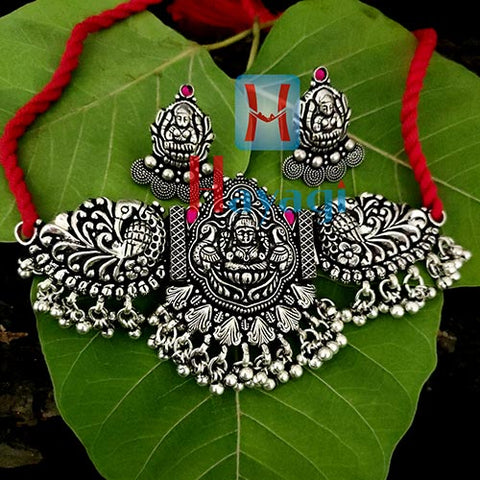 Choker Silver Oxidized Laxmi Peacock Design Necklace Set-Hayagi(Pune)