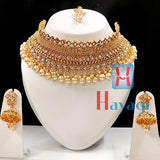 Necklace Set Choker Pearl Beads Ad LCT Stone Online - Hayagi