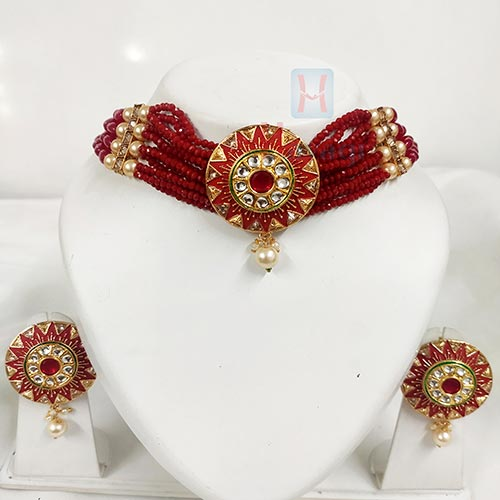 Crystal Collections In Red  Gold Toned Round Pendant  _Hayagi(Pune)