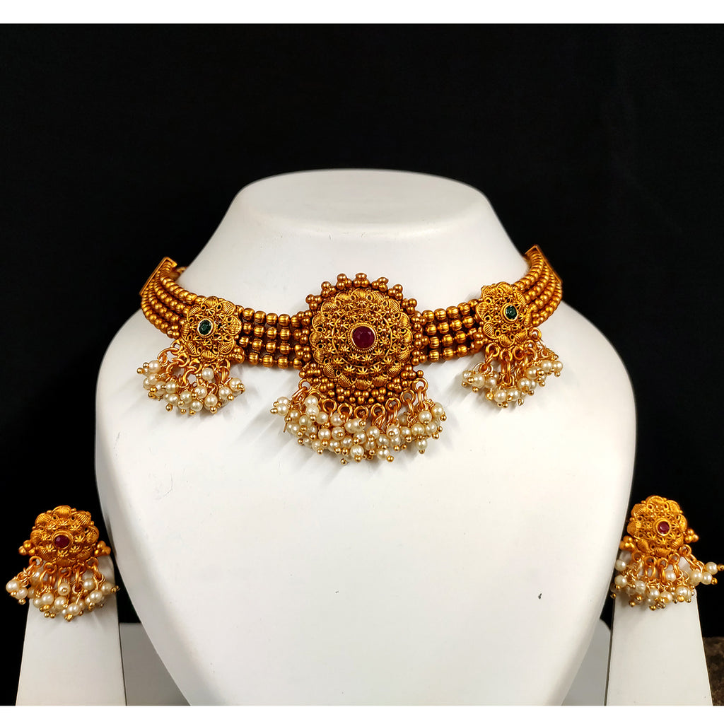 Traditional 4 Strings Choker With Flower Design_Hayagi(Pune)