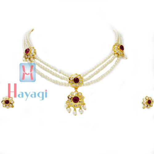 Tanmani Haar in 3 string with Flower Shape Pendant Design Online  - Hayagi