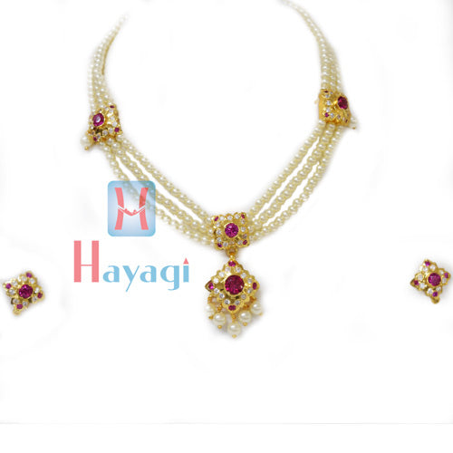 Tanmani Haar in 3 string with Square Shape Pendant Design Online  - Hayagi