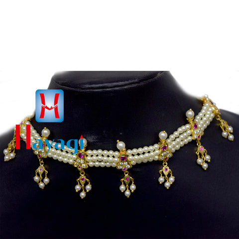 Chinchpeti Haar in 3 Strings Pearl 7 Peti Haar Online India_Hayagi
