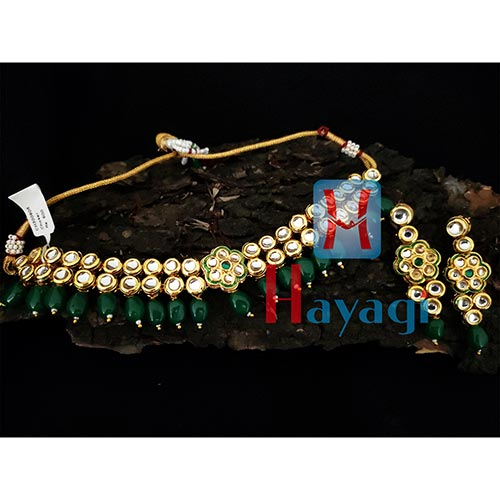 Kundan Necklace 2 line Green Pearl Set Online_Hayagi