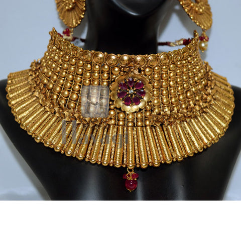 Gold Plated Bollywood Style Short Necklace Jhumka Earrings Bridal Set Buy Online- Hayagi