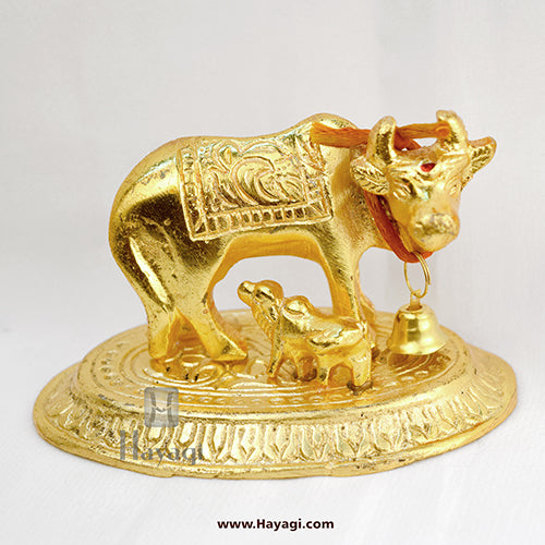 Kaamdhenu/ Cow and Calf Show Piece Golden Finish- Hayagi