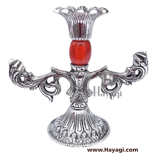 Metal Candle Stand in Silver Finish Gifting Item- Hayagi