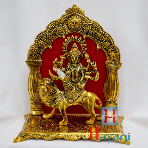 Godess Durga Sitting on Lion Statue In Gold Finish Online- Hayagi