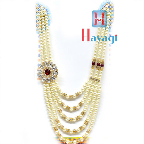 Red White Pearl Groom/Dulha Haar Necklace Online-Hayagi
