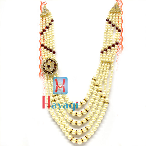 Red and White Pearl Groom/Dulha Haar Mala Necklace Online-Hayagi