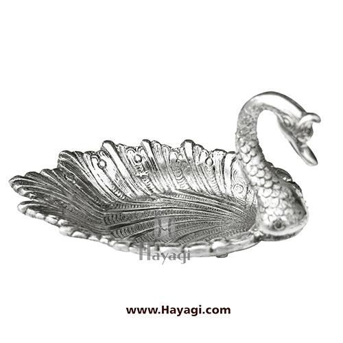 Metal Serving Tray of Duck design in Silver Finish Gifting Item- Hayagi