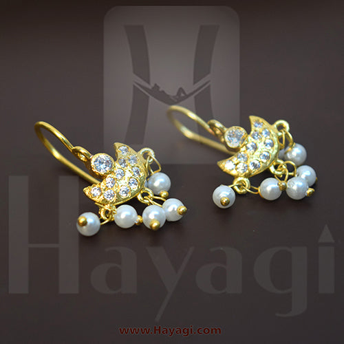 Bugadi, press earrings, pearl earrings, Pearl bugadi, stone Bugadi