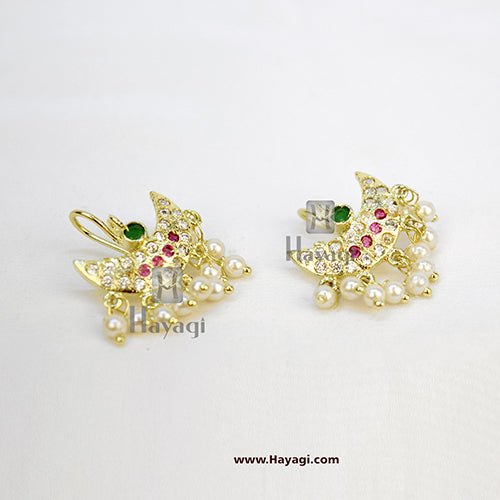 Bugadi, AD White Green & Pink Stone Bugdi Earring Stud Tops Earrings - Hayagi