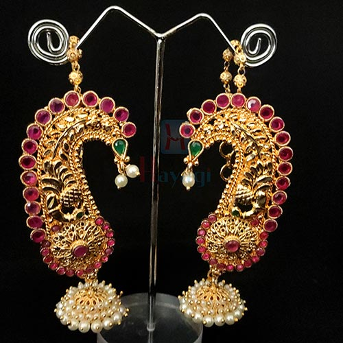 Traditional Ear Cuffs Gold Finish Peacock Design_Hayagi(Pune)