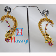 AD Ear Cuff Multicolour Stones studded Peacock Ear cuff-Hayagi