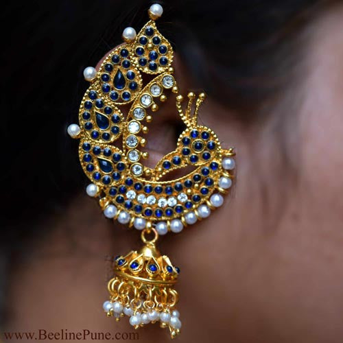 Traditional Peacock Theme Ear Cuffs | Blue Colour | Hayagi - Beeline  - 1