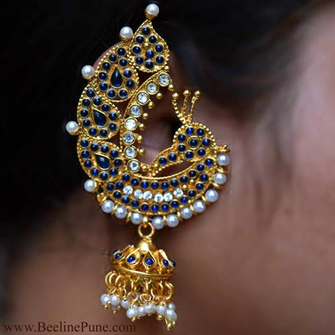 Traditional Peacock Theme Ear Cuffs | Blue Colour | Hayagi