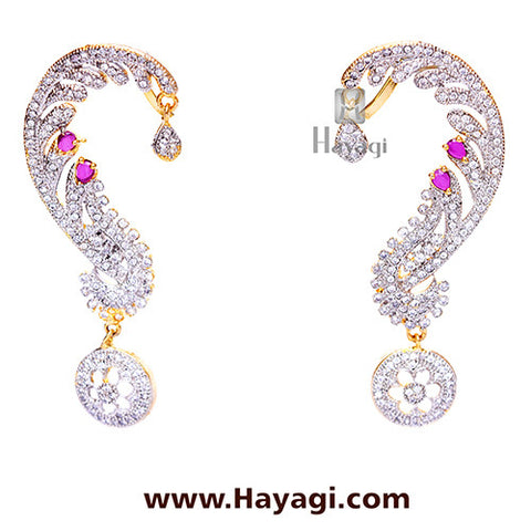 AD Ear Cuff -Ruby studded Ear cuff-Hayagi