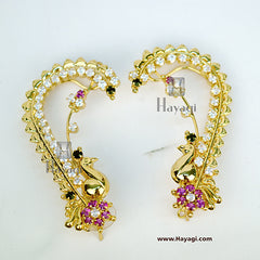 AD Ear Cuff -Pink Green Stones studded Peacock Ear cuff-Hayagi
