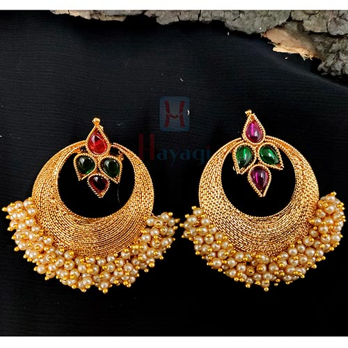 Pearl Embellished Multi Stoned Earring Heavy Look _Hayagi (Pune)