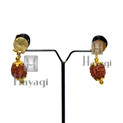 Ganpati Earrings With Rudraksh Ganesh Ornament Online- Hayagi