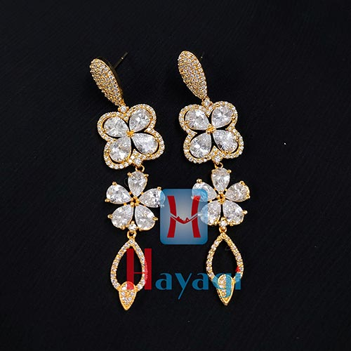 Danglers, Flower Shape White Stone Studded Earrings_Online Hayagi(Pune)