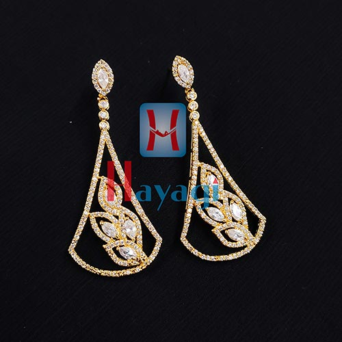 Fancy Stones Triangle Shape Danglers, Earrings_Online Hayagi(Pune)